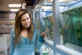 Woman chooses  fish in tank  — Stock Photo