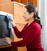 Ordinary mature woman cleaning TV   — Stock Photo