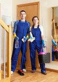 Equipe de limpeza profissional — Fotografia Stock