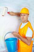 Male house painters with paint roller  — Foto de Stock