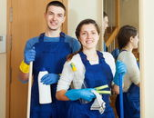 Handsome cleaners team is ready — Stock Photo