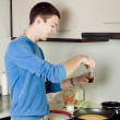 Man cooking omelet — Stock Photo #46911991