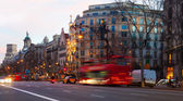 Evening view of Passeig de Gracia in  Barcelona, Spain — Stock Photo