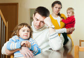 Family with two children having quarrel — Stock Photo
