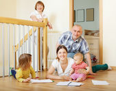 Couple with children and grandmother — Stock Photo