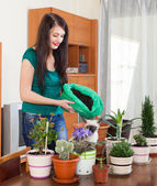Girl transplanting potted flowers — Photo
