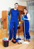 Playful young housecleaners — Stock Photo