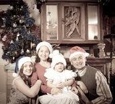 Old photo of happy family — Stock Photo
