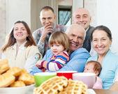 Joyful three generations family — Stock Photo
