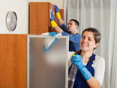 Professional cleaners team working — Stock Photo