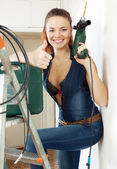 Portrait of sexy beautiful girl  with tools — Stock Photo