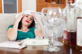 Woman having headache in morning after party — Stock Photo