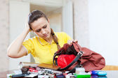 Inconsiderate woman lost something — Stock Photo