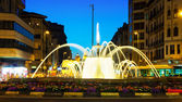 fountain in night. Pamplona — Stock Photo