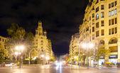 Street in night.  Valencia, Spain — Foto Stock