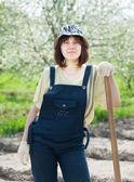 Female farmer  in spring — Stock Photo