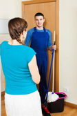Woman meeting handsome cleaner — Stock Photo