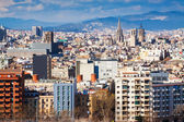 Day  view of  Barcelona cityscape from Montjuic — Stock Photo