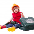 Baby builder in hardhat with working tools — Stock Photo #47098279
