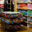 Tissue shop with fabrics — Stock Photo