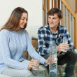 Happy couple drinking water — Stock Photo #47099375
