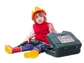 Konstruktora dziecko w kask z narzędzia pracy — Zdjęcie stockowe