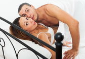 Terrified lovers caught during adultery — Stock Photo