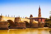 Medieval bridge over Ebro — Stock Photo