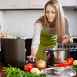 woman using notebook while cooking soup   — Stock Photo #47101065