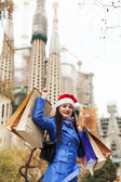 Woman with purchases in Barcelona — Stock Photo