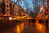 La Rambla in evening. — Stock Photo
