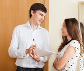 Social worker questioning woman — Stock Photo