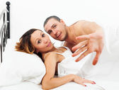 Frightened  man and woman caught during sex — Stock Photo