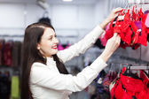 Ordinary woman choosing underwear — 图库照片