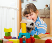 Happy 3 years child playing with kitten   — Stock Photo