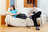 Couple after conflict  in home — Stock Photo