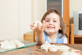 Child sculpting from clay at table — Stock Photo