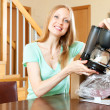 Woman with new electric coffee maker — Stock Photo