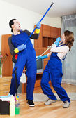 Playful cleaning premises team — Stock Photo