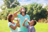 parents with teenager drinking cold water  — Stock Photo
