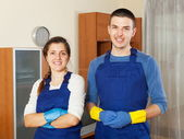 Handsome cleaners cleaning living room — Foto de Stock