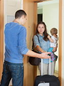 Afflicted woman leaving from home — Stock Photo