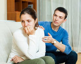 Man tries reconcile with woman after quarrel — Stock Photo