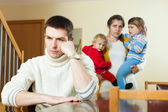 Family with two children having quarrel at home — Stock Photo