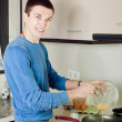 Man cooking omelet — Stock Photo #47142305