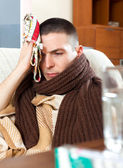 Sad  man having headache — Stock Photo