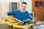 Guy  with working tools — Stockfoto