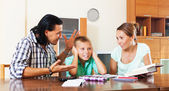 Parents scolds teenage son for bad study   — Stock Photo