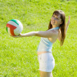 Girl playing volleyball — Stock Photo #4835030
