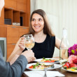 Man and woman having romantic dinner — Stockfoto #48986717